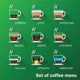 Insieme del menu del caffè Fotografia Stock Libera da Diritti