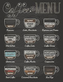 Insieme del menu del caffè nello stile d'annata con la lavagna
