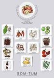 Insieme del menu dell'insalata della papaia Fotografie Stock
