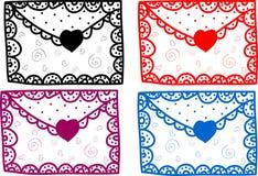 Insieme del messaggio del biglietto di S. Valentino di amore Fotografie Stock Libere da Diritti