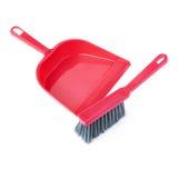 Insieme del mestolo e della spazzola isolati sopra fondo bianco Fotografia Stock Libera da Diritti