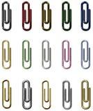 Insieme del metallo delle clip di carta Fotografia Stock
