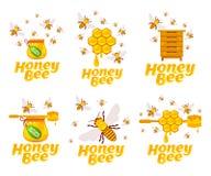 Insieme del miele e dell'ape Immagini Stock
