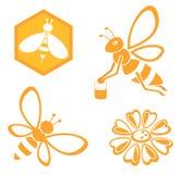 Insieme del miele e dell'ape Immagini Stock Libere da Diritti
