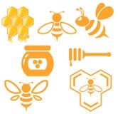 Insieme del miele e dell'ape Fotografia Stock Libera da Diritti