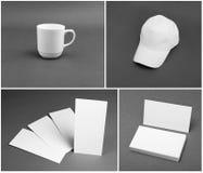 Insieme del modello bianco di identità corporativa su fondo grigio Fotografia Stock