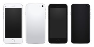 Insieme del modello d'argento e nero del telefono cellulare con gli schermi in bianco Immagini Stock Libere da Diritti