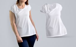 Insieme del modello dei vestiti con il modello femminile di misura nella maglietta in bianco Fotografia Stock Libera da Diritti