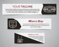 Insieme del modello dell'insegna di football americano con il logo, l'etichetta ed il distintivo di calcio Progettazione luminosa Immagini Stock