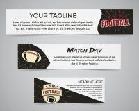 Insieme del modello dell'insegna di football americano con il logo, l'etichetta ed il distintivo di calcio Progettazione luminosa Fotografia Stock