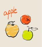 Insieme del modello della mela del fumetto con i frutti disegnati a mano Fotografia Stock