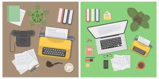 Insieme del modello dello scrittorio dello scrittore illustrazione di stock