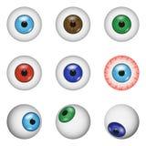 Insieme del modello di anatomia della palla dell'occhio, stile realistico illustrazione vettoriale