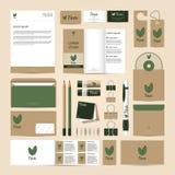 Insieme del modello di identità corporativa Modello del tè di Eco Immagini Stock