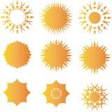 Insieme del modello di logo di vettore di Sun Immagini Stock