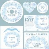 Insieme del modello di nozze di inverno Corona dei fiocchi di neve Fotografie Stock Libere da Diritti