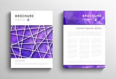 Insieme del modello di progettazione dell'opuscolo con gli ambiti di provenienza triangolari Immagine Stock