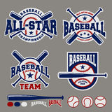 Insieme del modello di progettazione di logo del distintivo di sport di baseball
