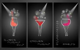 Insieme del modello di progettazione per gli inviti del partito con i cocktail Immagine Stock Libera da Diritti