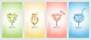 Insieme del modello di progettazione per i biglietti da visita con i cocktail Immagine Stock Libera da Diritti