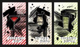 Insieme del modello di progettazione per i biglietti da visita della barra del cocktail Fotografia Stock