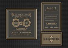 Insieme del modello di vettore della carta dell'invito di nozze Fotografie Stock Libere da Diritti