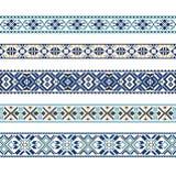 Insieme del modello etnico dell'ornamento nei colori blu Immagini Stock Libere da Diritti