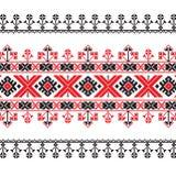 Insieme del modello etnico dell'ornamento nei colori rossi e neri Fotografia Stock