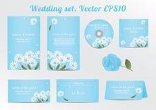 Insieme del modello floreale dell'invito di nozze con Fotografia Stock Libera da Diritti