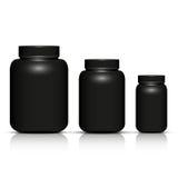 Insieme del modello nero del pacchetto della bottiglia Fotografia Stock