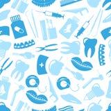 Insieme del modello senza cuciture blu delle icone dentarie blu di tema Immagini Stock