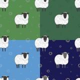 Insieme del modello senza cuciture con le pecore Fotografia Stock