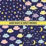 Insieme del modello senza cuciture della buona notte con la luna, le stelle e le nuvole sveglie di sonno Fondo di sogni dolci Vet Fotografie Stock