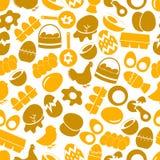 Insieme del modello senza cuciture delle icone di giallo di tema dell'uovo Fotografie Stock Libere da Diritti