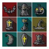 Insieme del mostro di Halloween delle icone piane Royalty Illustrazione gratis