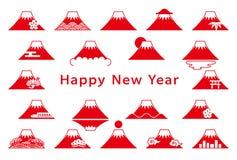 Insieme del Mt Icone di Fuji Scheda del nuovo anno illustrazione vettoriale
