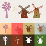Insieme del mulino a vento Fotografia Stock