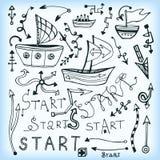 Insieme del multishape della freccia, della nave di scarabocchio e dell'iscrizione - inizio Illustrazione di vettore Può usare pe Immagini Stock Libere da Diritti