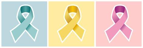 Insieme del nastro del Cancer sugli ambiti di provenienza colorati. Fotografia Stock