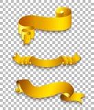 Insieme del nastro dell'oro Fotografie Stock Libere da Diritti