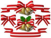 Insieme del nastro della campana di Natale, illustrazione 3D Fotografie Stock Libere da Diritti