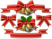 Insieme del nastro della campana di Natale, illustrazione 3D Fotografia Stock Libera da Diritti