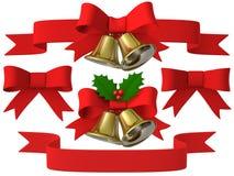 Insieme del nastro della campana di Natale, illustrazione 3D Immagini Stock