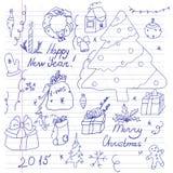 Insieme del Natale e dell'inverno di simboli Fotografia Stock