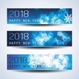 Insieme del Natale orizzontale, delle intestazioni del nuovo anno o delle insegne - 2018 Fotografia Stock Libera da Diritti