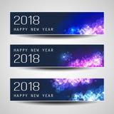 Insieme del Natale orizzontale, delle intestazioni del nuovo anno o delle insegne - 2018 Fotografia Stock