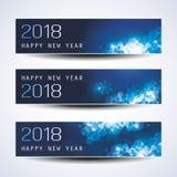 Insieme del Natale orizzontale, insegne del nuovo anno - 2018 Immagine Stock