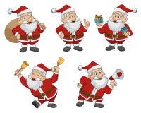 Insieme del Natale Santa Claus Vettore ed illustrazione Immagine Stock Libera da Diritti