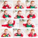 Insieme del neonato infantile felice sveglio in costume dell'elfo che si siede nel livello Immagini Stock Libere da Diritti