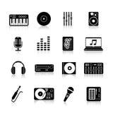 Insieme del nero delle icone del DJ Fotografia Stock